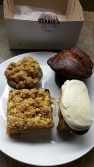 From top left: Apple crumble pie, carrot pumpkin muffin, cinnamon bun, apricot square